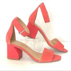 Franco Sarto Block Heel Sandal Coral Ankle Strap